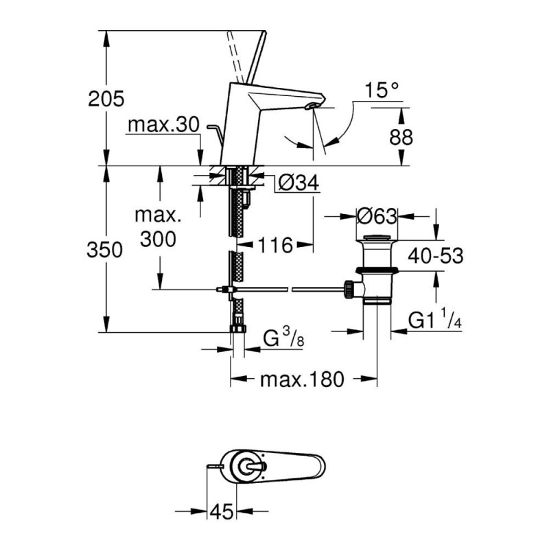 "Grohe Eurodisc Joystick Basin Mixer 1/2"" Small 23425 Chrome"