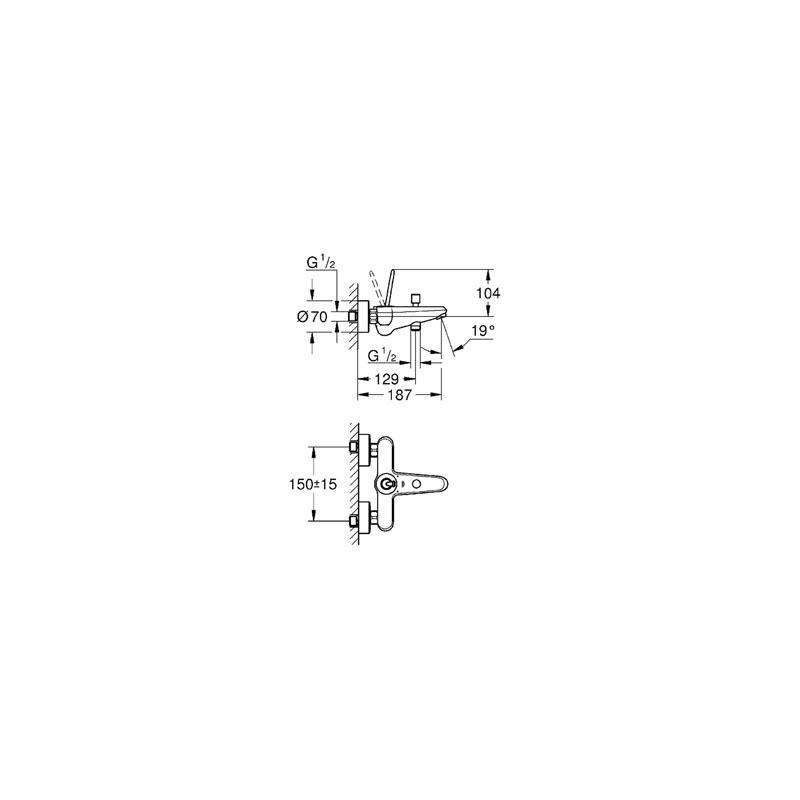 "Grohe Eurodisc Joystick Wall Bath/Shower Mixer 1/2"" 23431 Chrome"