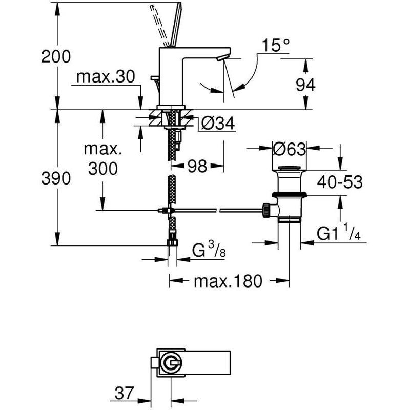 "Grohe Eurocube Joy Basin Mixer with Waste 1/2"" S-Size 23654"