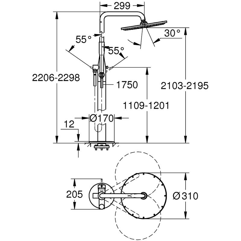 Grohe Essence Free Standing Shower Mixer 23741 Supersteel