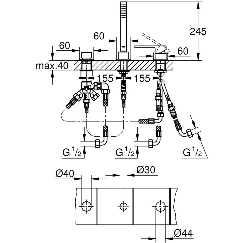 Grohe Plus 3-Hole Bath Mixer 23845
