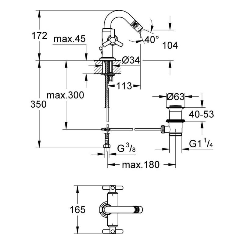 "Grohe Atrio Ypsilon Bidet Mixer 1/2"" Medium 24027"