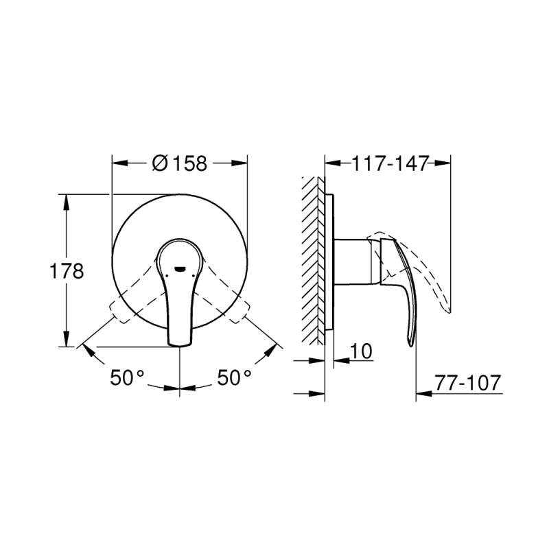 Grohe Eurosmart Single Lever Shower Mixer Trim 24042