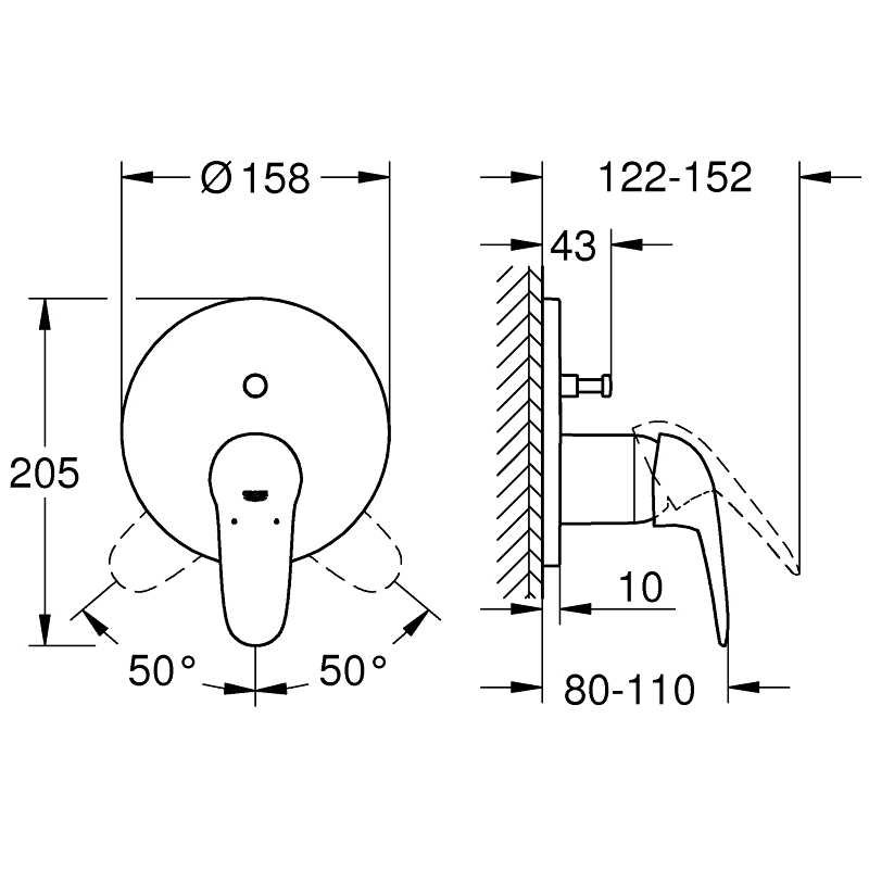 Grohe Eurostyle Single-Lever Mixer Trim with Diverter 24047 White