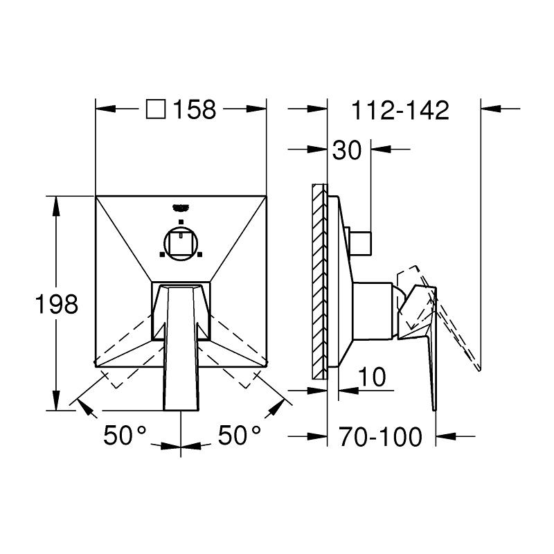 Grohe Allure Brilliant Single-Lever Mixer Trim with 3-Way Diverter 24099