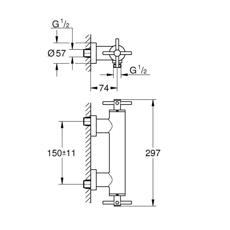 Grohe Atrio Cross Handle Wall Shower Mixer 26003