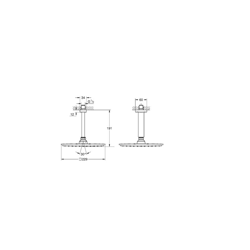 Grohe Rainshower Allure 210 Head Shower Set Ceiling 142mm 26065