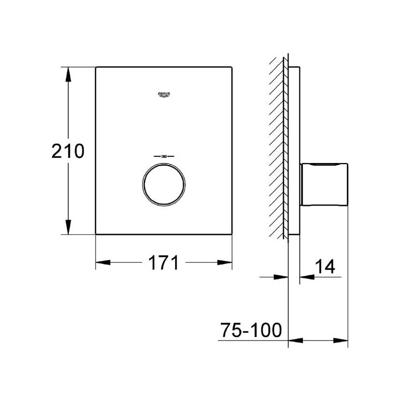 Grohe Grotherm F Thermostatic Trim 27619