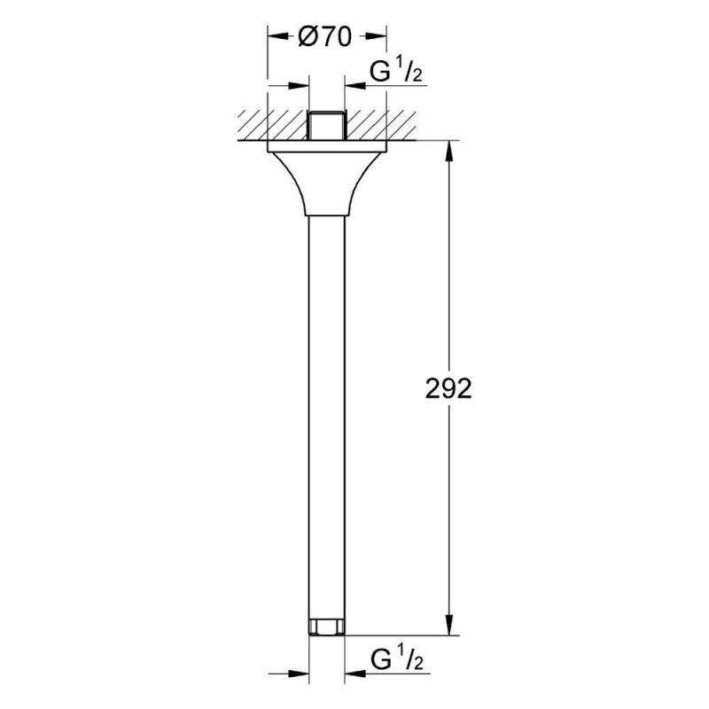 Grohe Rainshower Grandera Shower Ceiling Arm 292mm 27982 Chrome