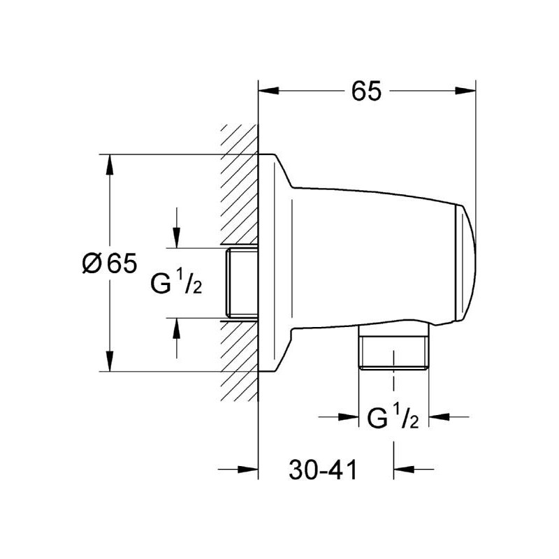 """Grohe Movario Shower Outlet Elbow 1/2"""" 28405"""