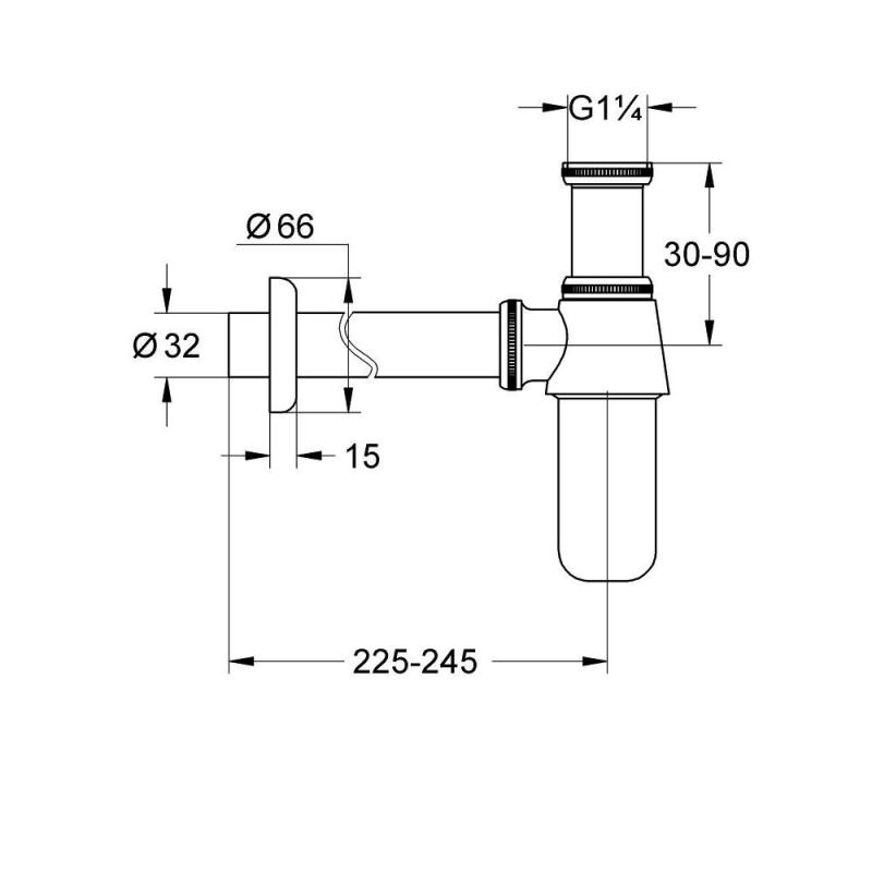 "Grohe Basin Bottle Trap 1 1/4"" 28920"