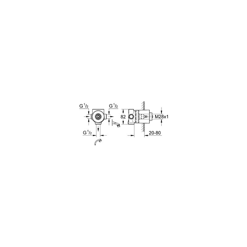 Grohe Multi-Hole 3 Way Diverter Concealed Body 29706