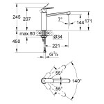 "Grohe Eurosmart Cosmopolitan Medium Spout Sink Mixer 1/2"" 30193"