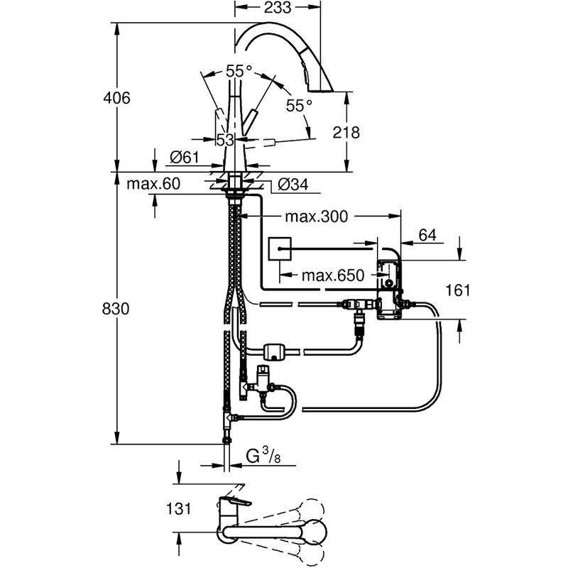 Grohe Zedra Touch High Spout Sink Mixer 30219 Supersteel
