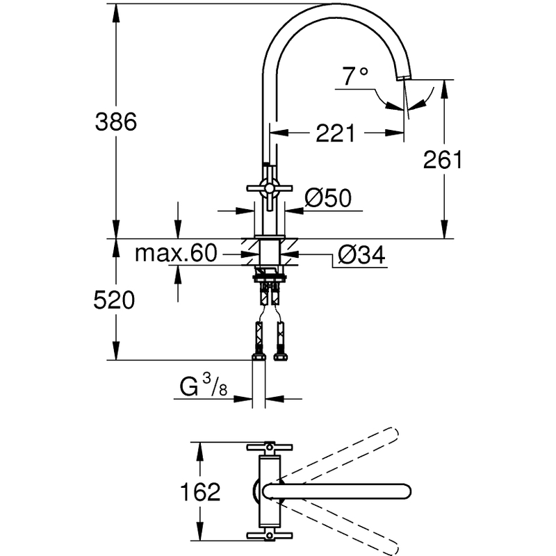 Grohe Atrio Two Handle Sink Mixer 30362 Supersteel