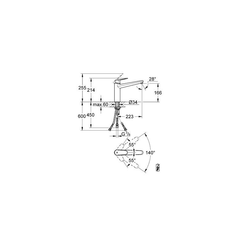 "Grohe Eurodisc Cosmopolitan Sink Mixer 1/2"" 31206"