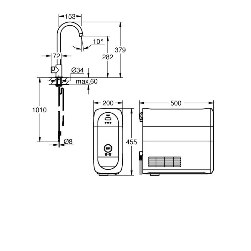 Grohe Blue Home Mono C-Spout Starter Kit 31498