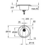 Grohe K200 50-C 51 1.0 Composite Sink 31656 Granite Gray