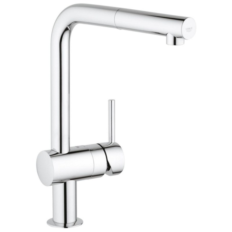 """Grohe Minta Sink Mixer with Pull Out Spout 1/2"""" 32168 Chrome"""