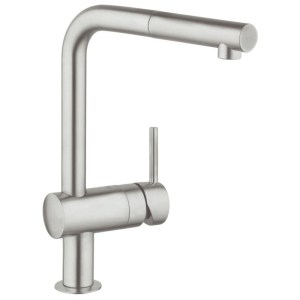 """Grohe Minta Sink Mixer with Pull Out Spout 1/2"""" 32168 Supersteel"""