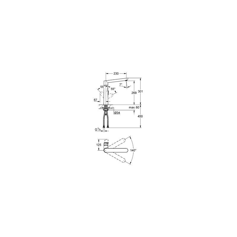"""Grohe K7 Mono Sink Mixer 1/2"""" 32175 Supersteel"""