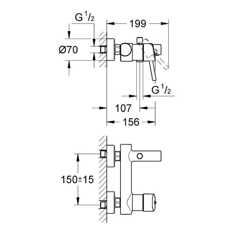 """Grohe Concetto Wall Mounted Bath/Shower Mixer 1/2"""" 32211"""