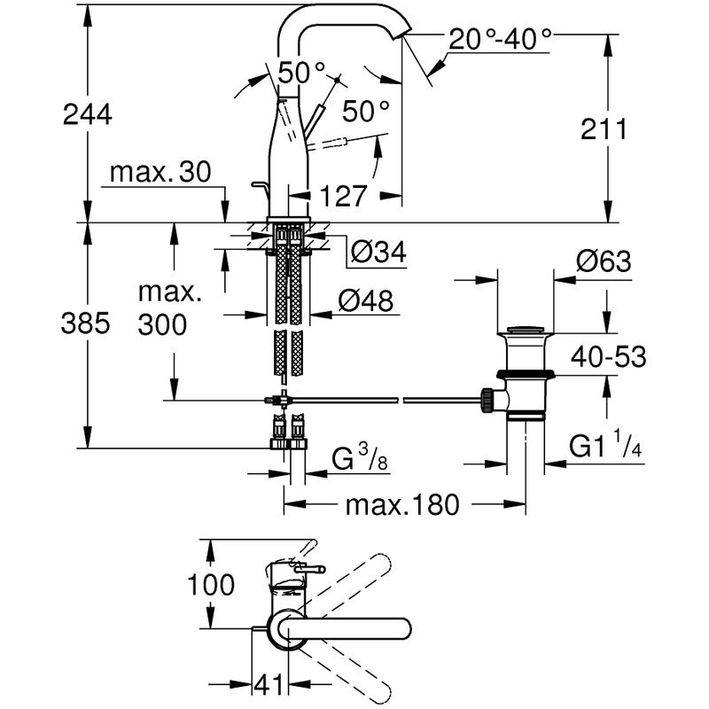 Grohe Essence Basin Mixer Tap L-Size 32628 Warm Sunset
