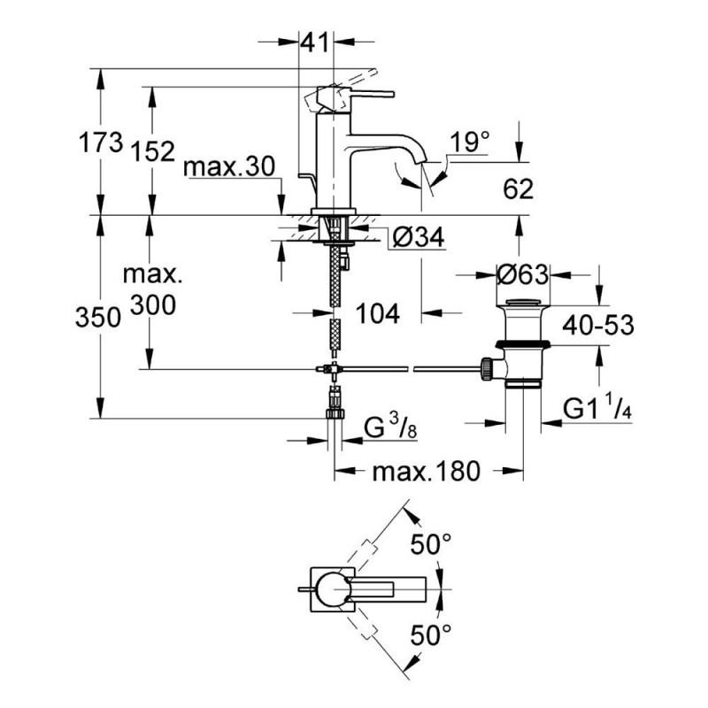 """Grohe Allure Mono Basin Mixer Tap 1/2"""" Medium 32757"""