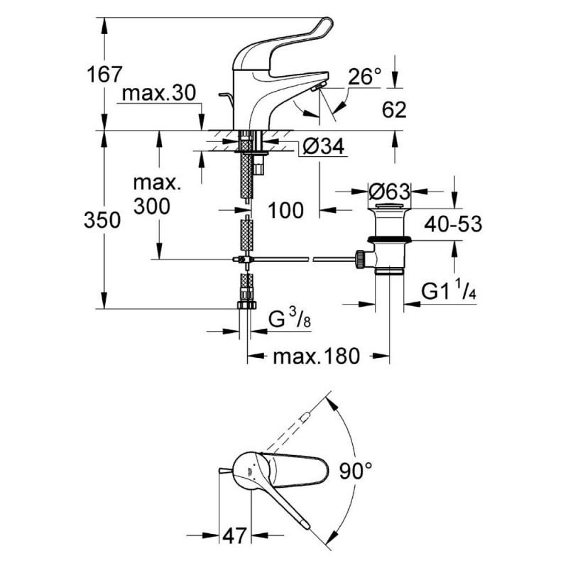 "Grohe Euroeco Single Sequential Mono Basin Mixer 1/2"" 32788"