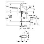 """Grohe Eurosmart Cosmopolitan Mono Basin Mixer 1/2"""" Small 32825"""
