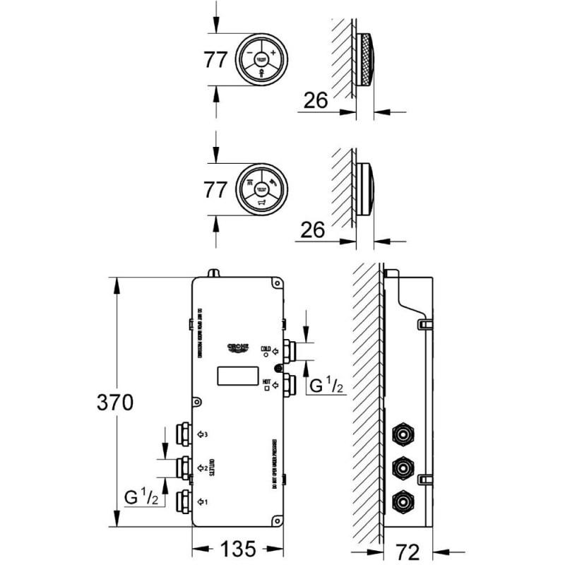 Grohe Veris F-Digital Controller & Digital Diverter Bath 36289