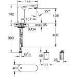 """Grohe Eurosmart Cosmopolitan E Infra-Red Basin Mixer 1/2"""" 36330"""