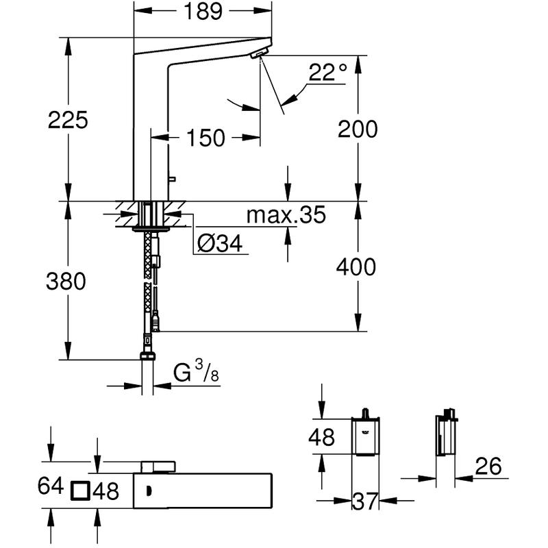 Grohe Eurocube E Infra-Red Electronic Basin Mixer 36441