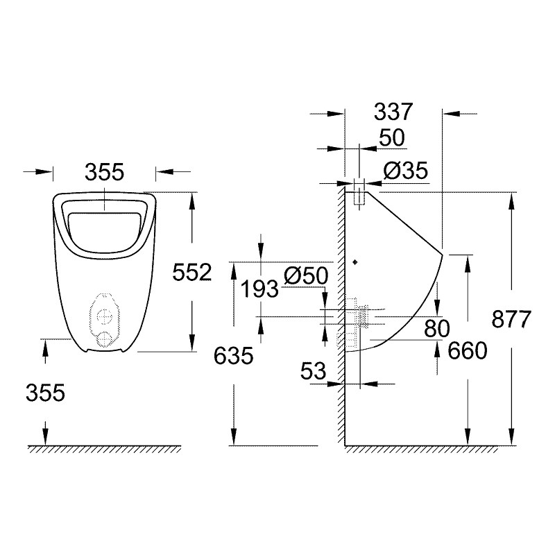 Grohe Bau Ceramic Urinal Top Inlet 39439