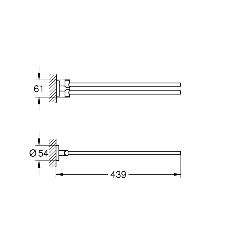 Grohe Essentials Double Towel Bar 40371 Brushed Nickel