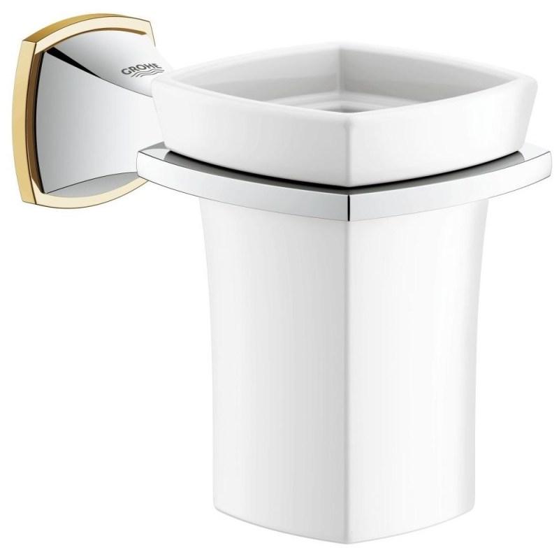 Grohe Grandera Holder with Ceramic Tumbler 40626 Chrome/Gold