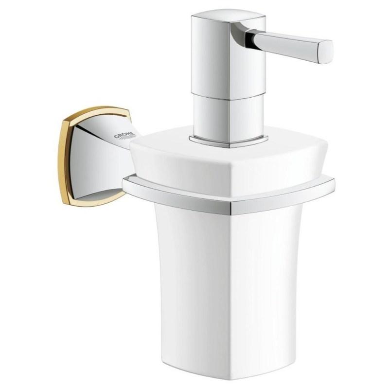 Grohe Grandera Holder & Ceramic Soap Dispenser 40627 Chrome/Gold