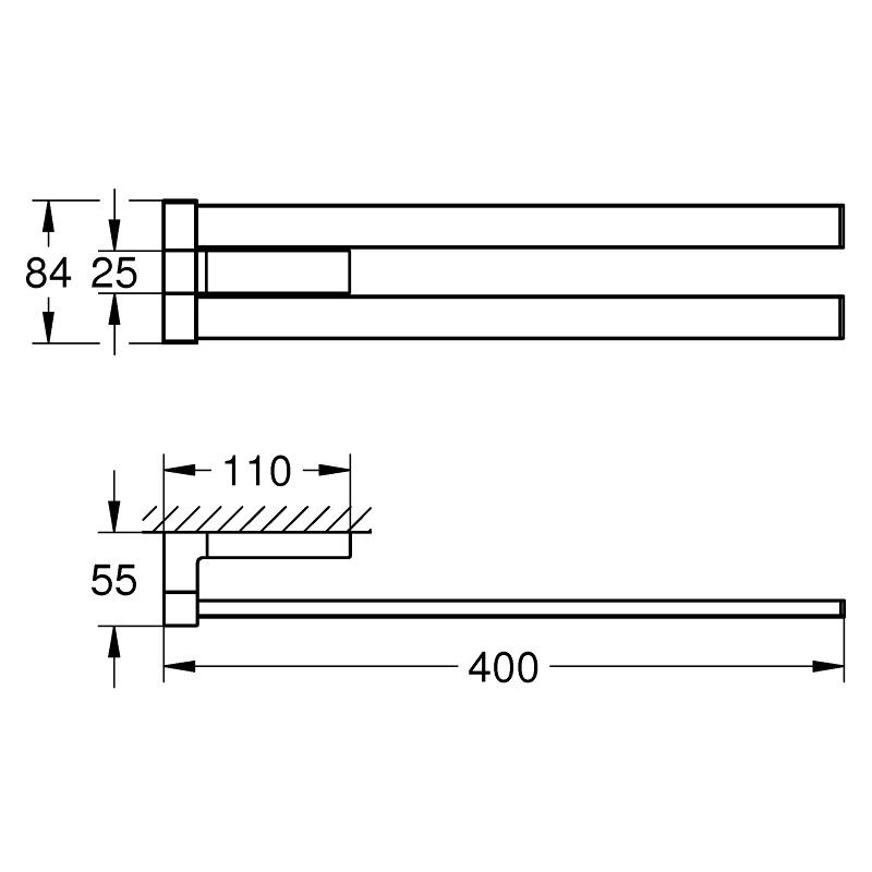 Grohe Selection Cube Double Towel Bar 40768 Chrome