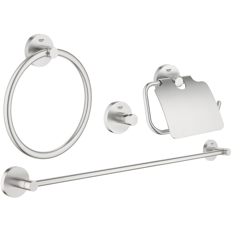 Grohe Essentials 4-In-1 Bathroom Accessories Set 40776 Supersteel