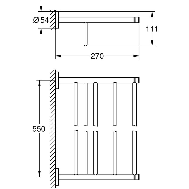 Grohe Essentials Multi Bath Towel Rack 40800 Polished Nickel