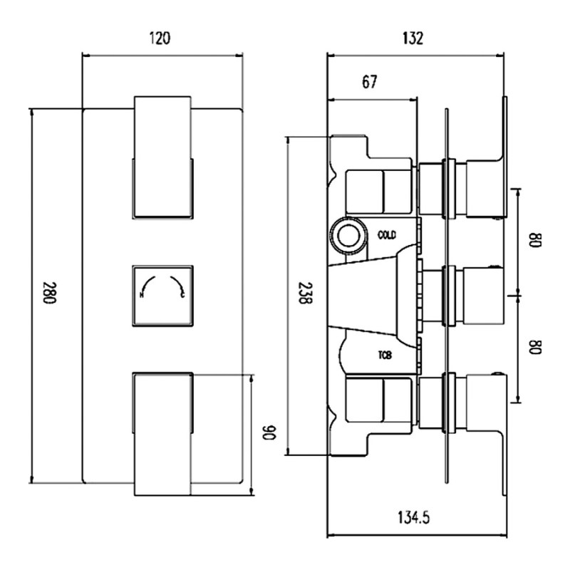 Hudson Reed Art Triple Thermostatic Shower Valve