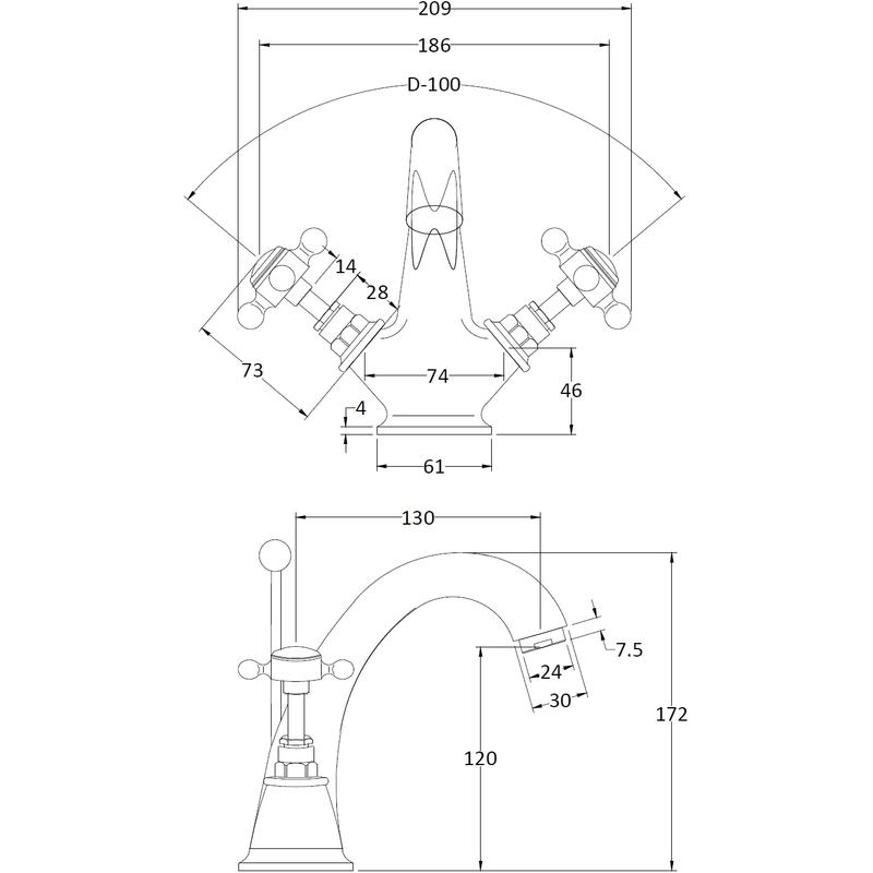 Hudson Reed White Topaz Crosshead Mono Basin Mixer Hex