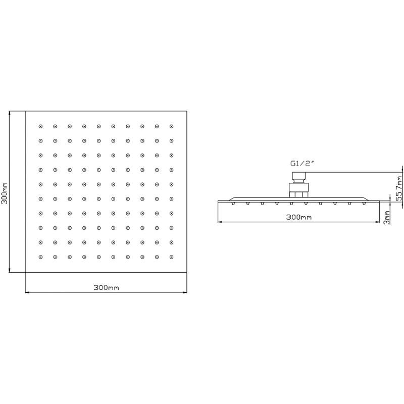 Hudson Reed Square Minimalist Fixed Shower Head 300mm