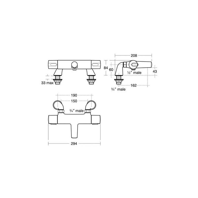 Ideal Standard Ceratherm 100 Two Hole Bath Shower Mixer A4815