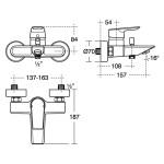 Ideal Standard Tesi Wall Mounted Bath Shower Mixer A6583 Chrome