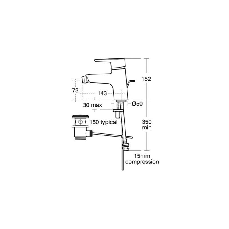 Ideal Standard Concept Bidet Mixer with Waste B9988