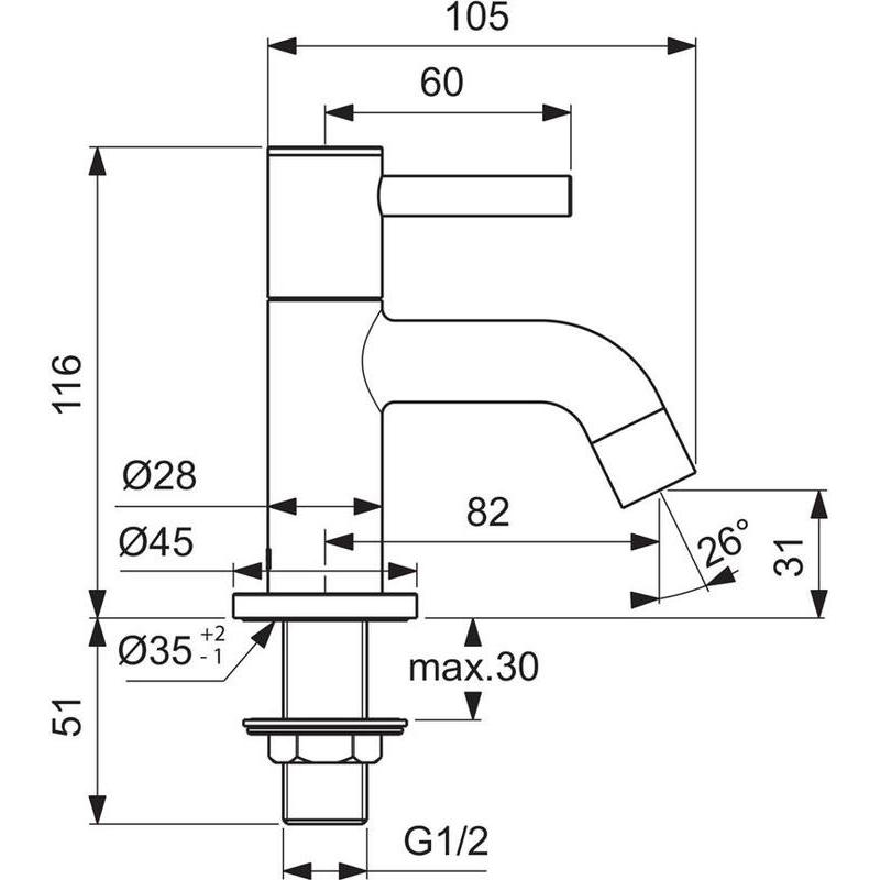 Ideal Standard Ceraline Basin Pillar Taps BC184 Chrome