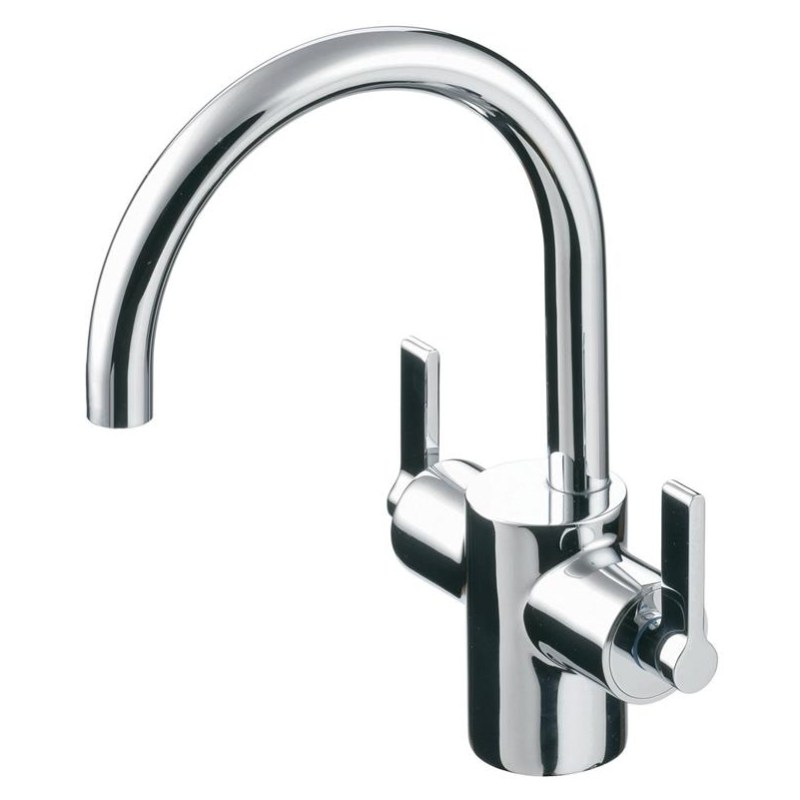 Ideal Standard Silver Dual Control Basin Mixer with Waste E0065