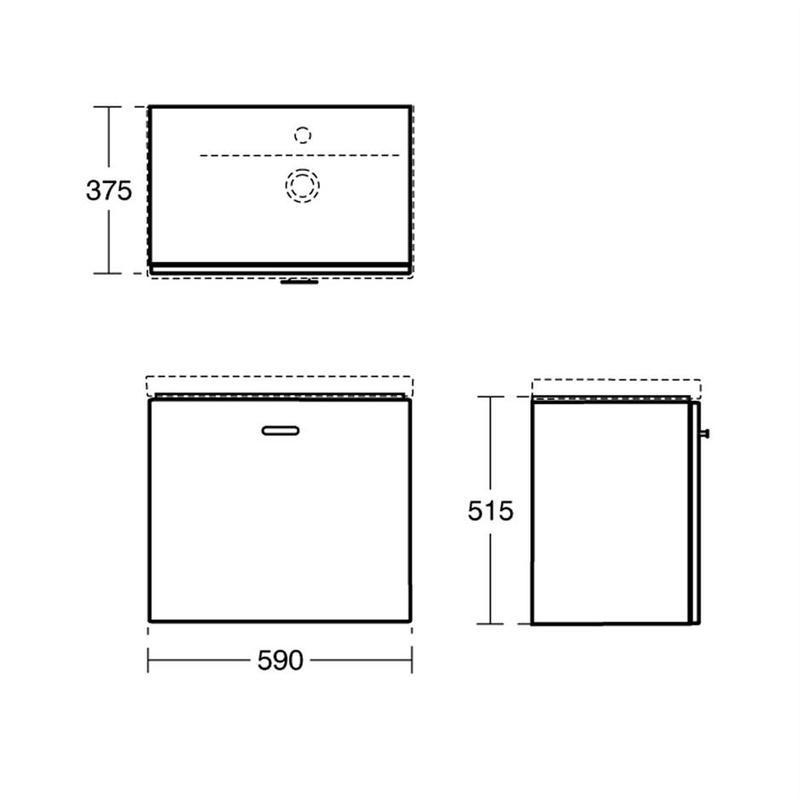 Ideal Standard Concept Space 600mm Wall Basin Unit LH E0314 Elm