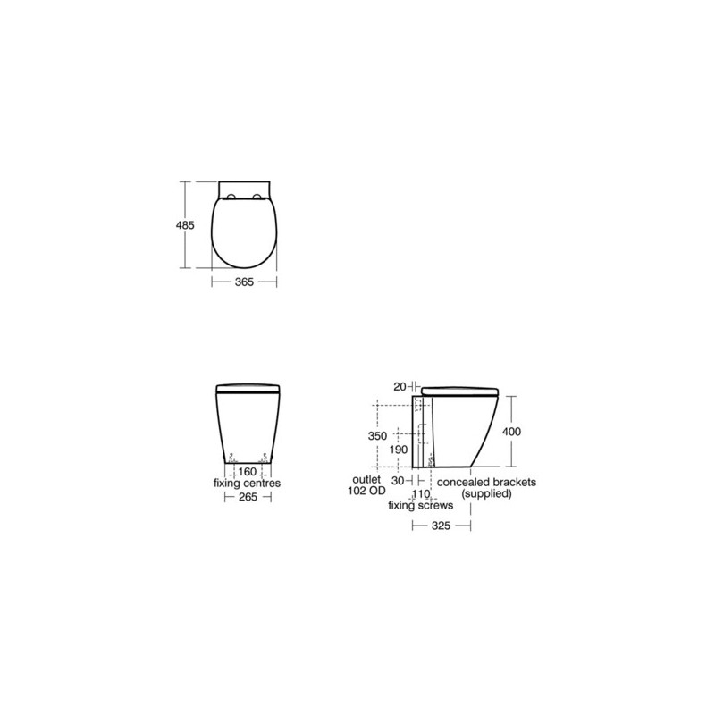 Ideal Standard Concept Space Back To Wall WC & Slow Close Seat